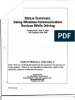 Dept of Transportation Report on danger of driving while using a cell phone