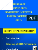 RI Sharing of Findings From Registered Inspector Inquiry Committee (RIIC)