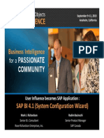 0911 User Influence Becomes an SAP Application SAP BI 41 System Configuration Wizard