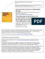Thermodynamic Optimization for an Open Cycle of an Externally