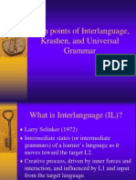 Main Points of Interlanguage, Krashen, And