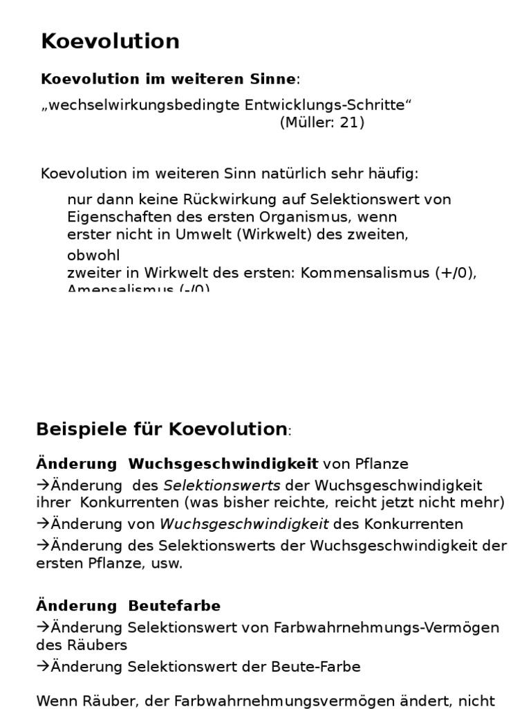 9koevol - Koevolution Beispiele