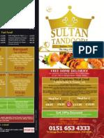 Sultan Sultan Tandoori Menu - Front & Back