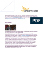 Letter of the Lords - October 11, 2013