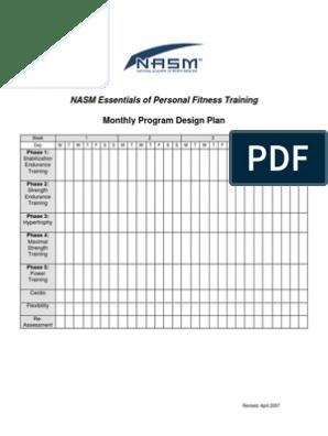 Nasm Opt For Fitness Monthly Program Design