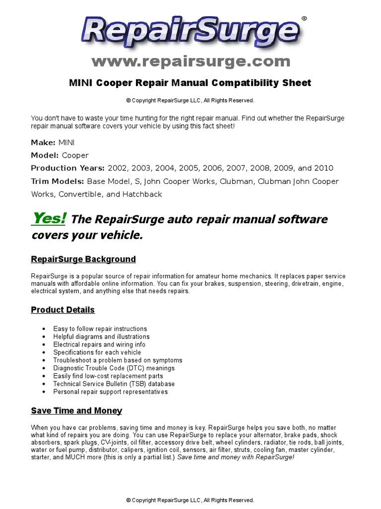 MINI Cooper Repair Manual - 2002, 2003, 2004, 2005, 2006, 2007, 2008, 2009,  and 2010