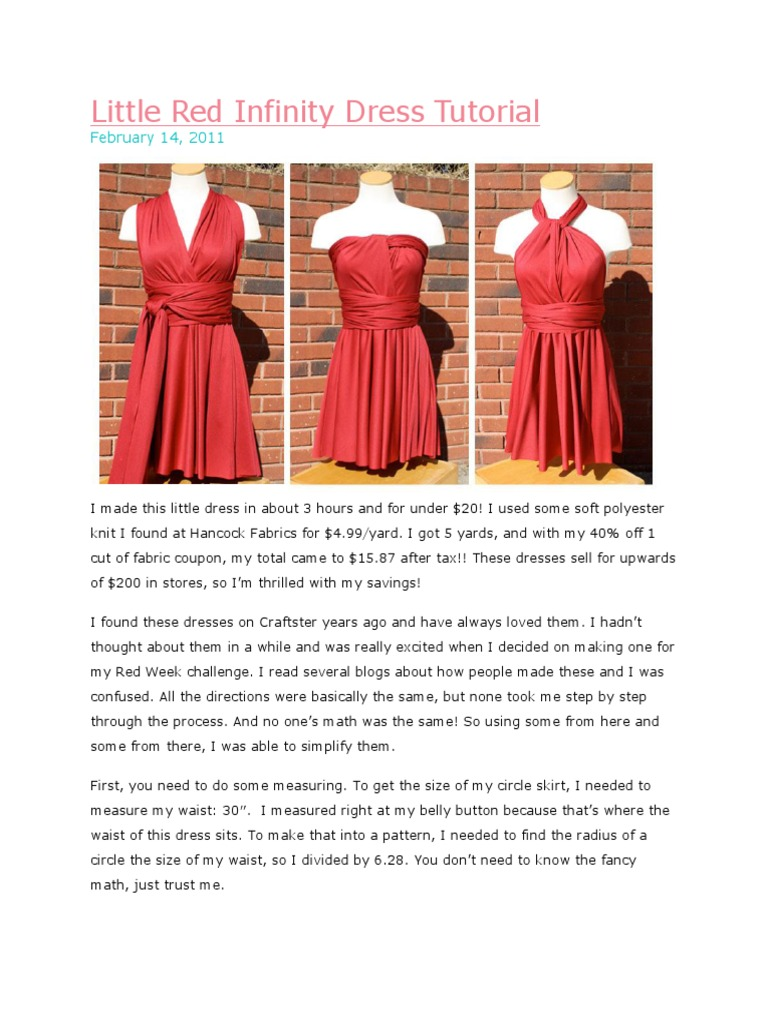 Little Red Infinity Dress Tutorial Seam Sewing Sewing