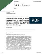 Anne-Marie Sohn, «Sois un Homme!». La construction de la masculinité au XIXe siècle