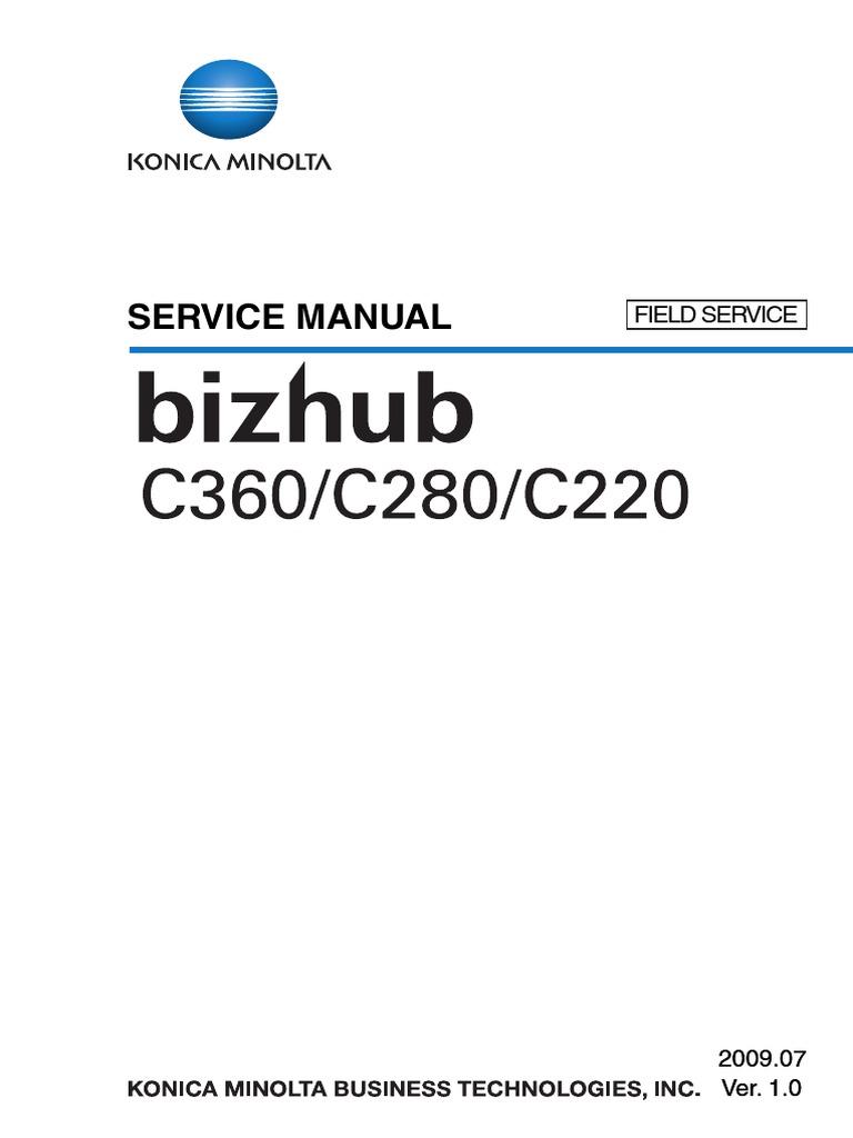 konica minolta bizhub c220 c280 c360 service manual ac power plugs rh scribd com bizhub c452 service manual bizhub 421 service manual