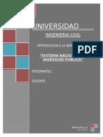 Proyecto Snip SISTEMA NACIONAL DE INVERSION PUBLICA