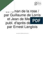 Roman de La Rose, Tome v, Le; Guillaume de LORRIS & Jean de MEUN, (Ed) Ernest LANGLOIS