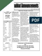 Shabbat Announcements, July 25,2009