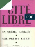 Les journaux et la loi au Canada - Marc Lalonde, Cité Libre 1966