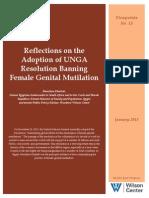 Reflections on the Adoption of UNGA Resolution Banning Female Genital Mutilation