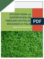 Estudio Para La Exportacion de Oregano en Polvo Envasado a Italia