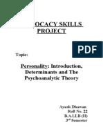 Personality & Psychoanalytic Theory- Ayush Dhawan