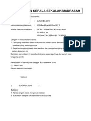 Surat Pernyataan Kepala Sekolah