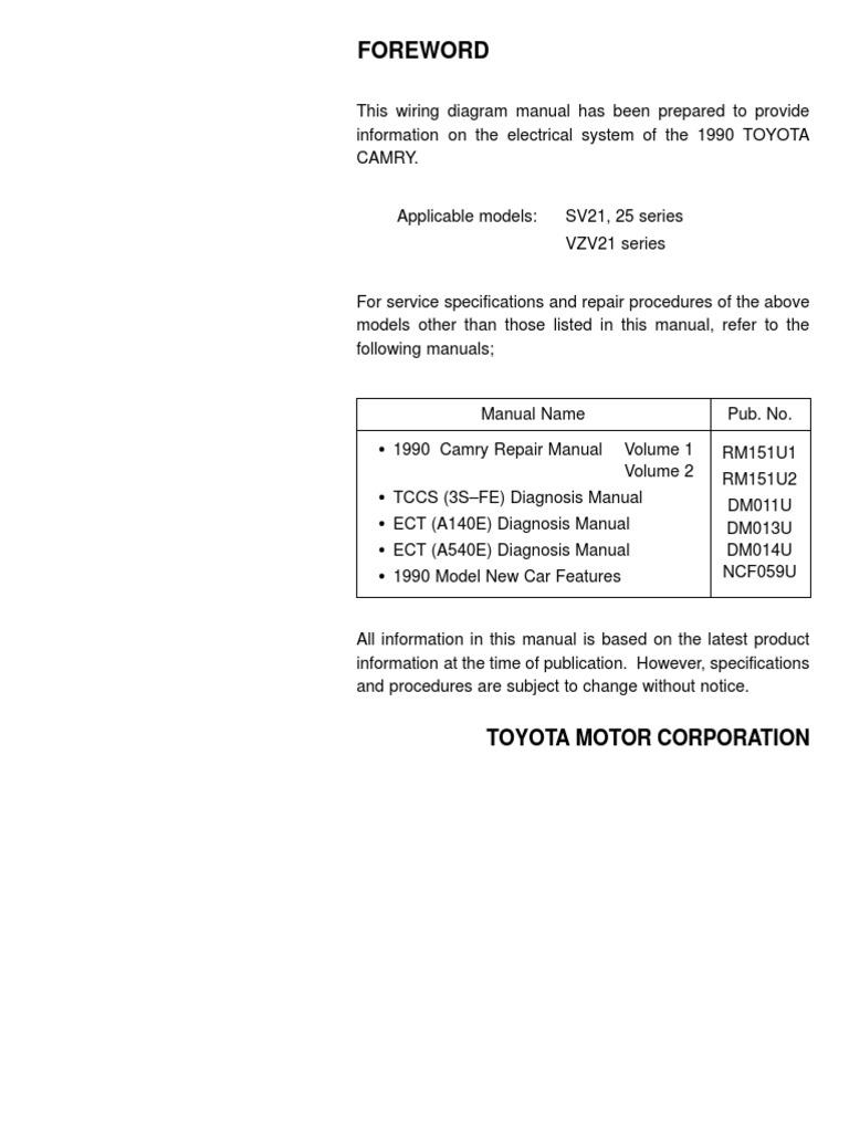 toyota camry 87 91 electrical wiring diagram rh es scribd com 1996 Toyota Camry Repair Manual Camry Manual Transmission