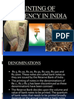 Printing of Currency in India