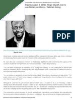 News Analysis(August 6, 2010)_ Singer Wyclef Jean to Seek Haitian Presidency - Deborah Sontag