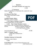 G's Diner Menu Sept 2013