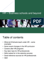 HR - Business Schools and Beyond