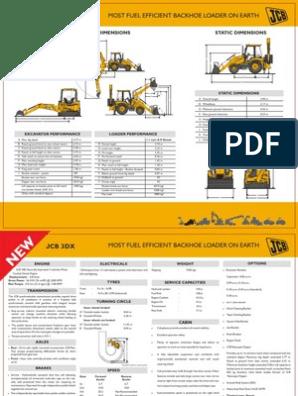 JCB 3DX Specifications Sheet | Loader (Equipment