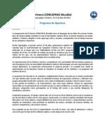 Sintesis Del Programa de Apertura Primera Concafras Mundial