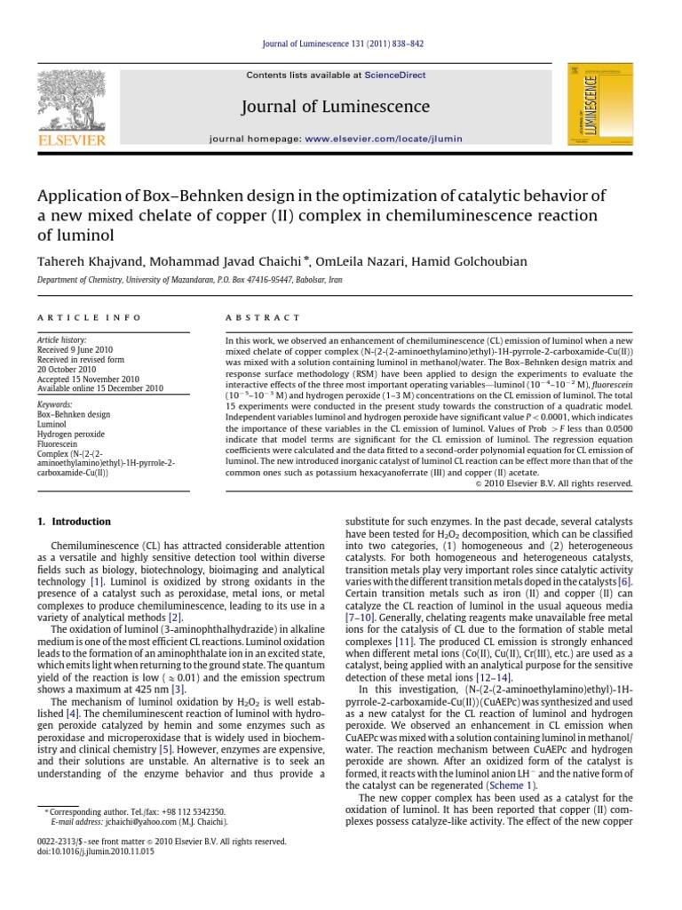 Application Of Box Behnken Design In The Optimization Of Catalytic Behavior Of Catalysis Errors And Residuals