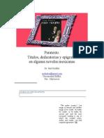 Paratexto Titulos Dedicatorias y Epigrafes en Algunas Novelas Mexicanas