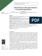 A framework for the governanceof social enterprise