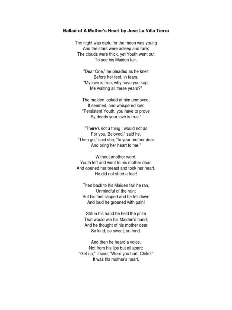 Ballad of a Mother's Heart (Verse Choir Piece)