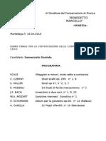 Conservatorio Di Musica Progradyjtmma d'Esame