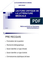 Lecture Critique de La Litterature Medicale