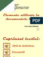 Elemente Utilizate in Documentele HTML