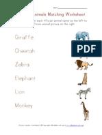 African Animals Matching Worksheet