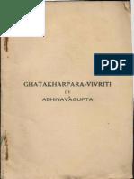 Ghat Karpar Vritti With Abhinavaguptas Commentary - KSTS 67