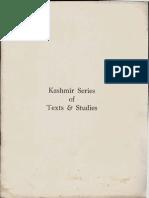 Kashmir Series of Texts and Studies - University of Kashmir