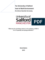 What are the facilitating factors to the adoption of BIM in the UK quantity surveying profession?