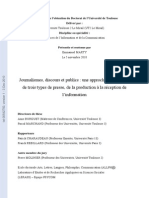 Journalismes Discours Et Publics E. MARTY