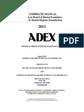 Dental Hygiene_manual_2013 Adex Exam   Dental Hygienist   Identity