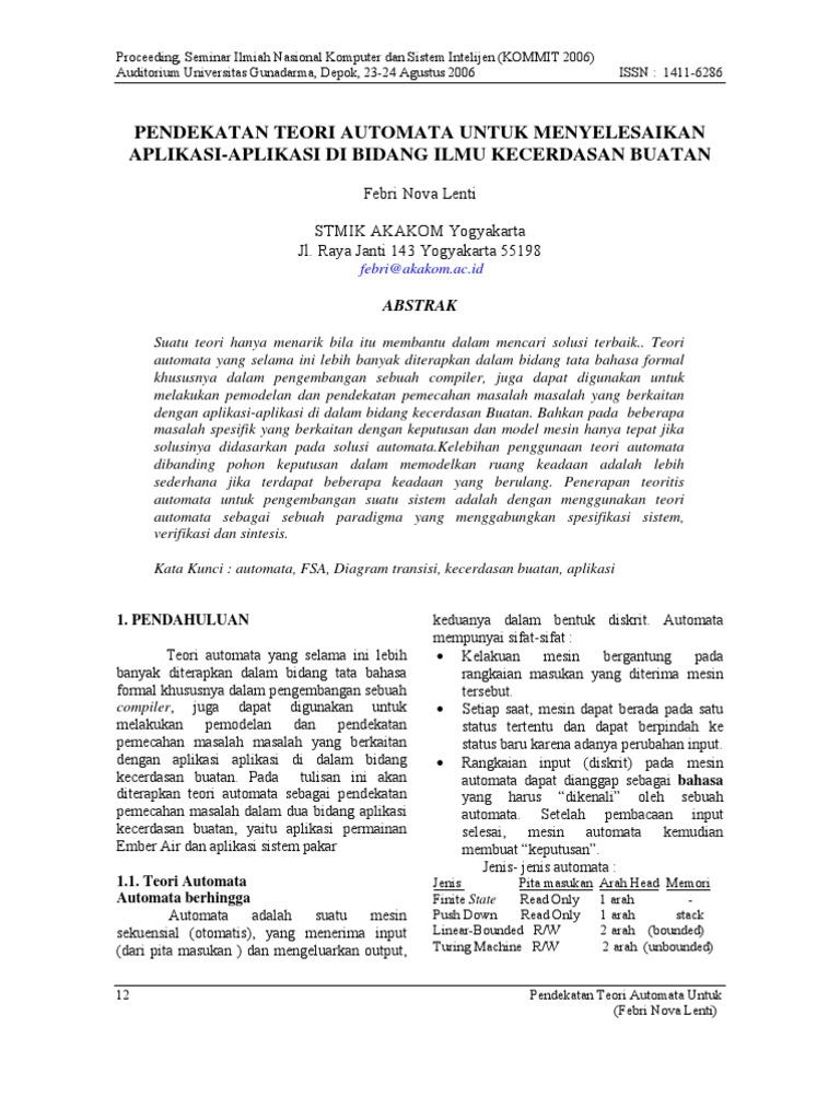 Pendekatan Teori Automata Untuk Menyelesaikan Aplikasi-Aplikasi ...