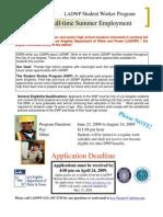 Jti Student Worker Program Job Appl 2009 Form
