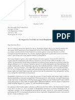 Letter to Secretary Kerry Re Travel Ban Request on Certain Bangladeshi Nationals - Official