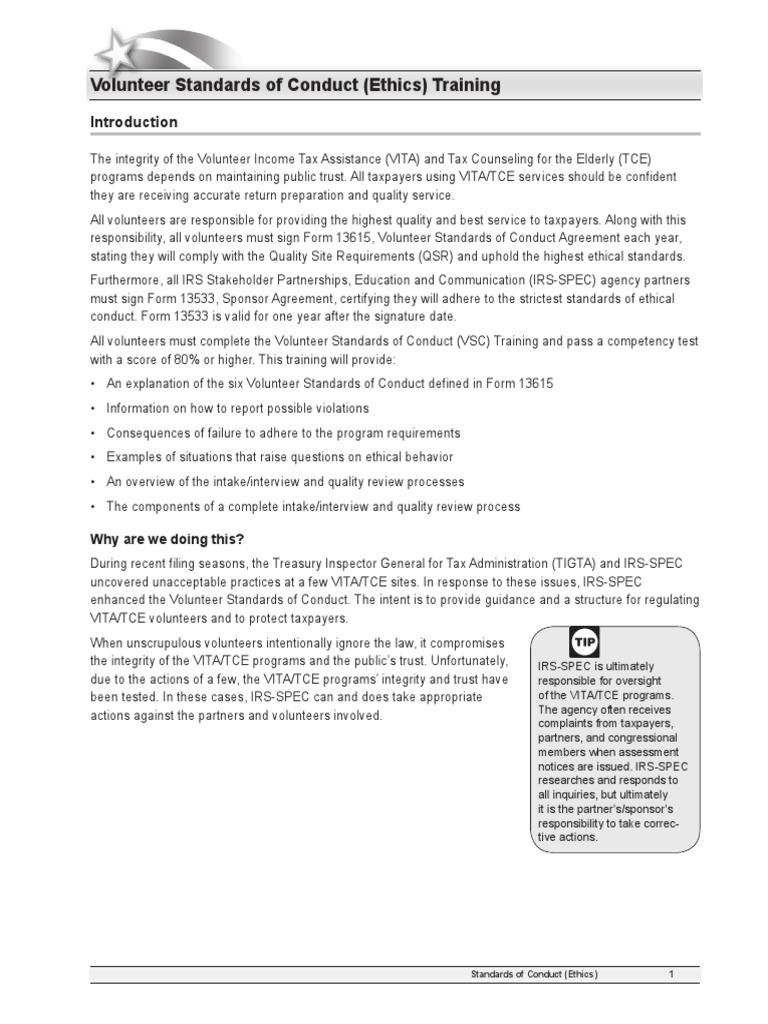 Standards Of Conduct Training 2015 Internal Revenue Service