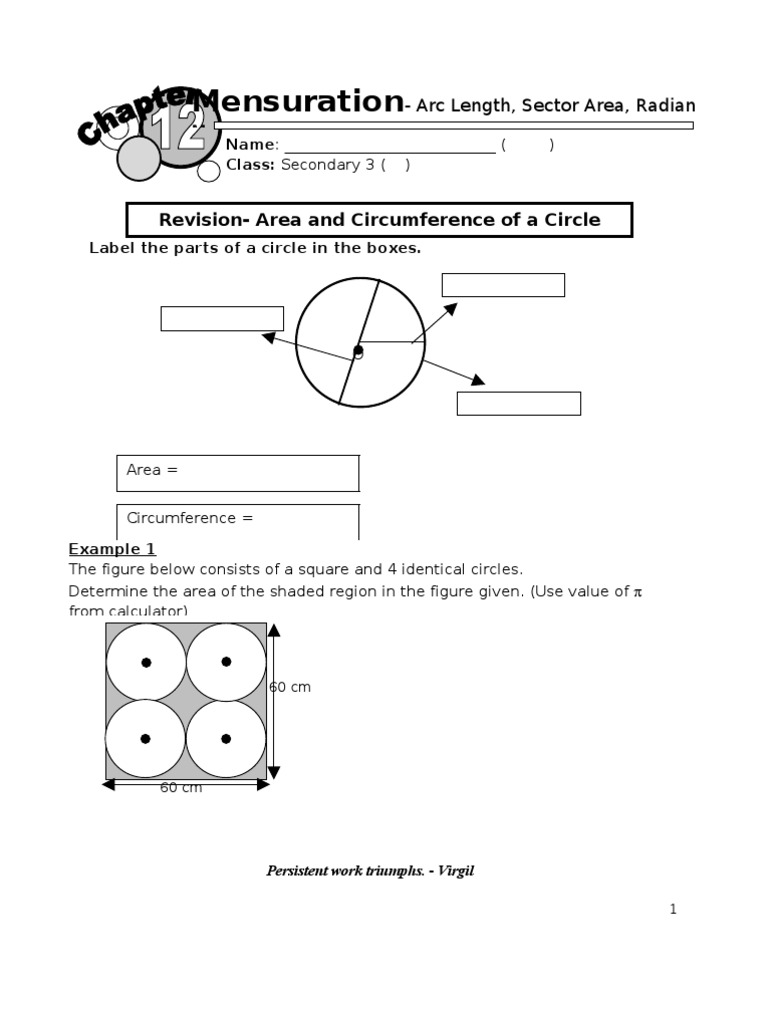 Arc Length And Area Of Sector Area Circle