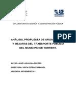Análisis, propuesta de organización y mejoras del Transporte Público del municipio de Torrent.