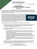 PDPH Health Advisory #6 - Recent Increase in Legionnaire's Disease