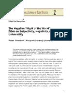 Sinnerbrink, Robert - The Hegelian 'Night of the World'. Zizek on Subjectivity, Negativity, And Universality