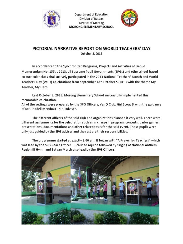 Teachers day narrative report short further education schools stopboris Gallery
